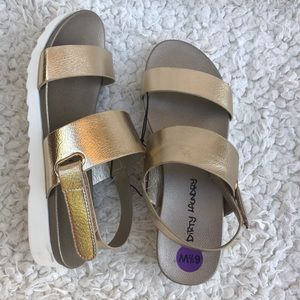 NWT Laundry gold Velcro platform wedge sandals